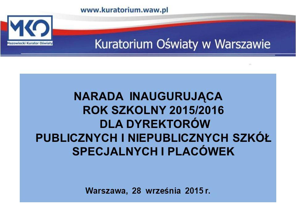 NARADA INAUGURUJĄCA ROK SZKOLNY 2015/2016 DLA DYREKTORÓW PUBLICZNYCH I NIEPUBLICZNYCH SZKÓŁ SPECJALNYCH I PLACÓWEK Warszawa, 28 września 2015 r.