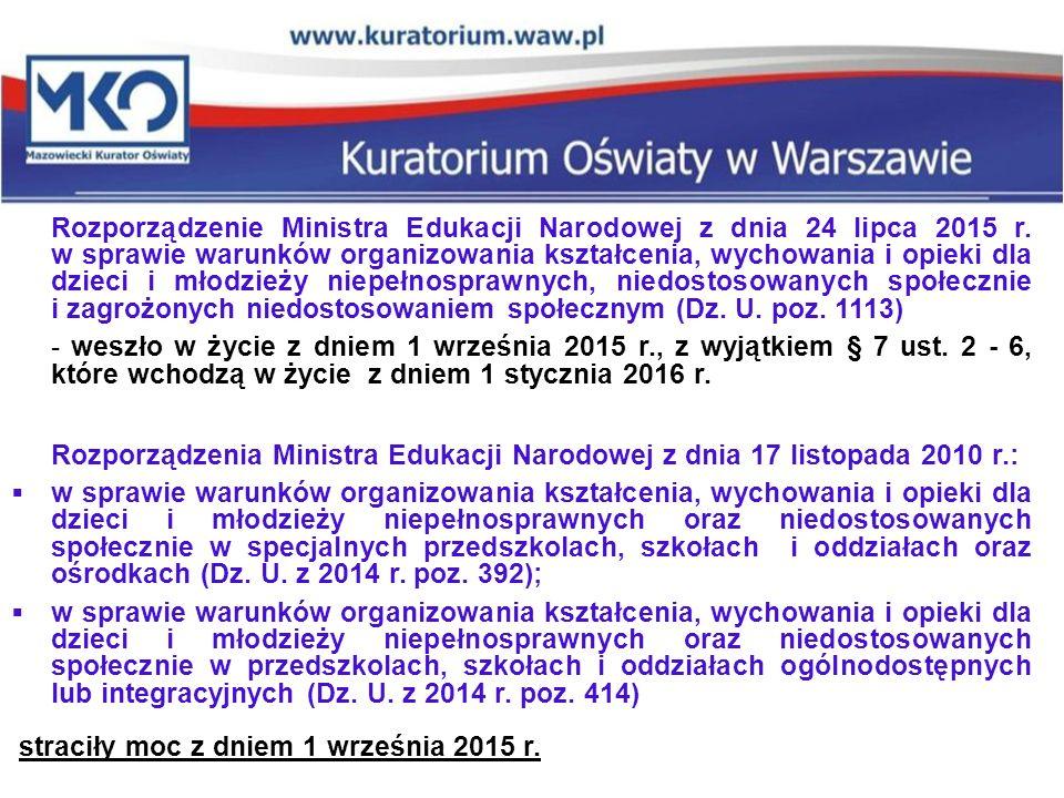 Rozporządzenie Ministra Edukacji Narodowej z dnia 24 lipca 2015 r. w sprawie warunków organizowania kształcenia, wychowania i opieki dla dzieci i młod