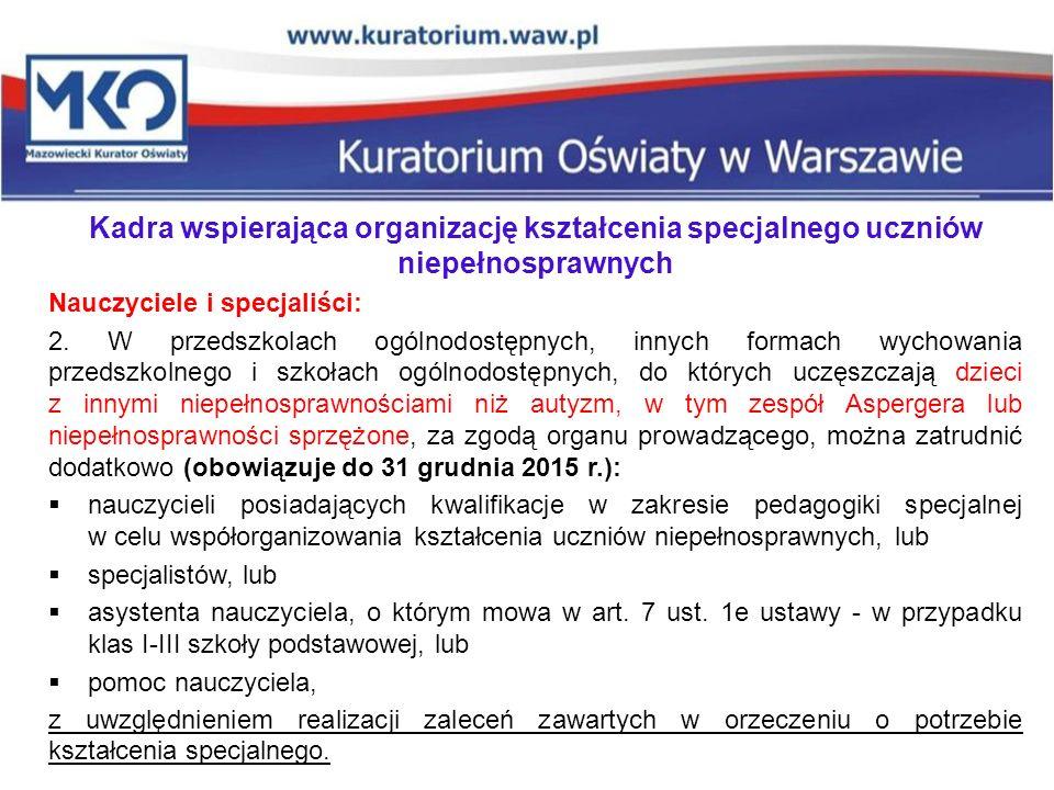 Kadra wspierająca organizację kształcenia specjalnego uczniów niepełnosprawnych Nauczyciele i specjaliści: 2. W przedszkolach ogólnodostępnych, innych