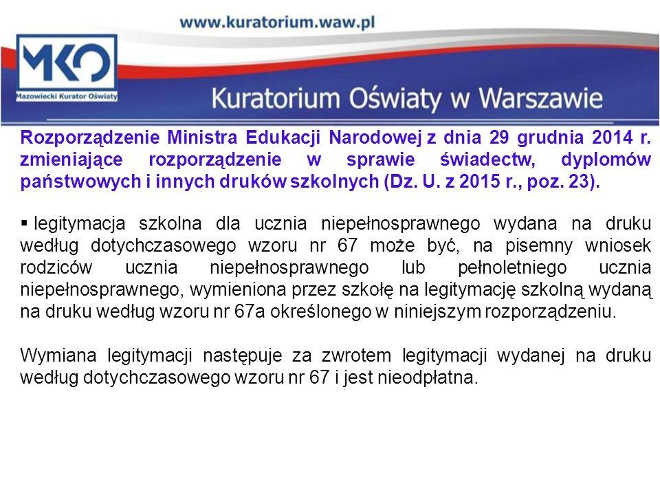 Rozporządzenie Ministra Edukacji Narodowej z dnia 29 grudnia 2014 r.