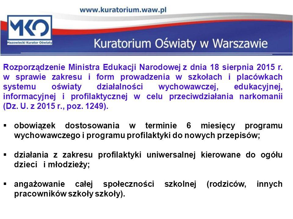 Rozporządzenie Ministra Edukacji Narodowej z dnia 18 sierpnia 2015 r. w sprawie zakresu i form prowadzenia w szkołach i placówkach systemu oświaty dzi