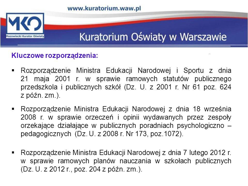 Kluczowe rozporządzenia:  Rozporządzenie Ministra Edukacji Narodowej i Sportu z dnia 21 maja 2001 r. w sprawie ramowych statutów publicznego przedszk