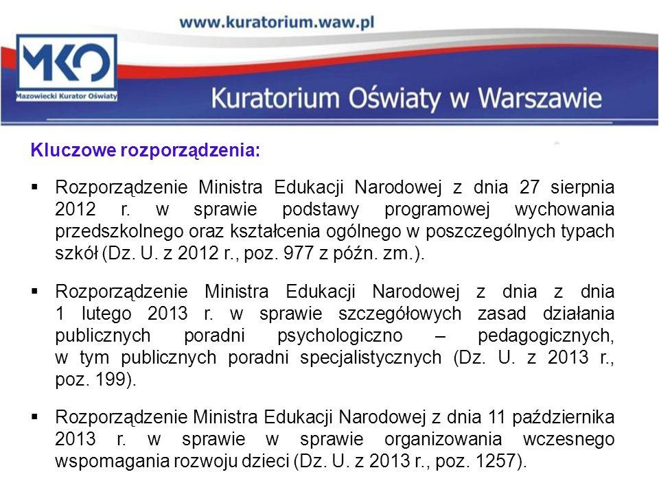 Kluczowe rozporządzenia:  Rozporządzenie Ministra Edukacji Narodowej z dnia 27 sierpnia 2012 r. w sprawie podstawy programowej wychowania przedszkoln
