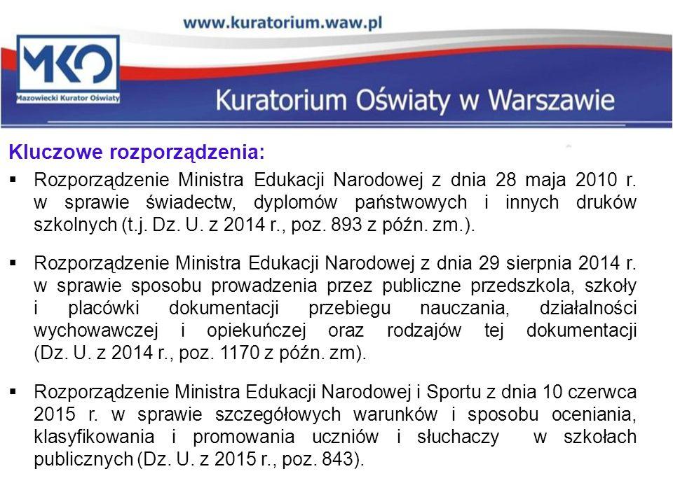Kluczowe rozporządzenia:  Rozporządzenie Ministra Edukacji Narodowej z dnia 28 maja 2010 r. w sprawie świadectw, dyplomów państwowych i innych druków