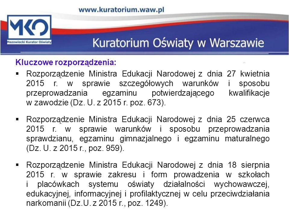 Kluczowe rozporządzenia:  Rozporządzenie Ministra Edukacji Narodowej z dnia 27 kwietnia 2015 r. w sprawie szczegółowych warunków i sposobu przeprowad