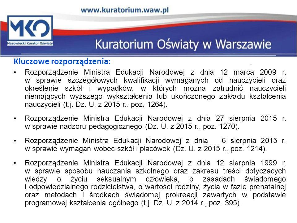 Kluczowe rozporządzenia: Rozporządzenie Ministra Edukacji Narodowej z dnia 12 marca 2009 r. w sprawie szczegółowych kwalifikacji wymaganych od nauczyc