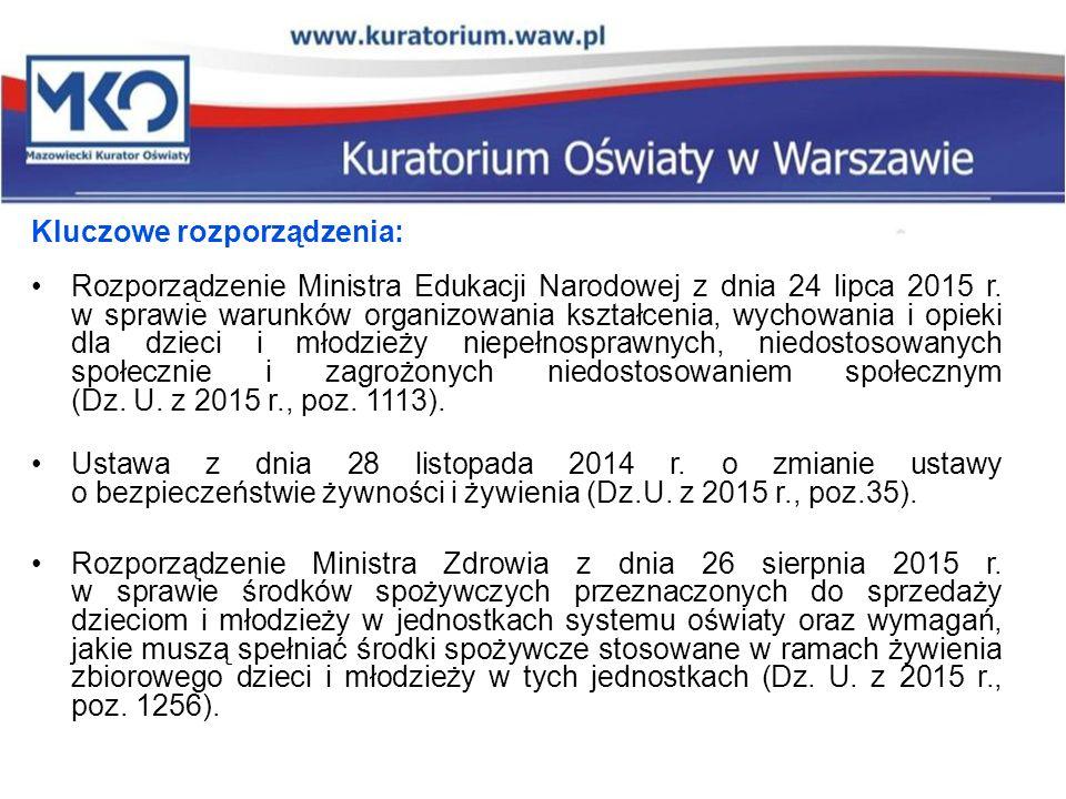 Kluczowe rozporządzenia: Rozporządzenie Ministra Edukacji Narodowej z dnia 24 lipca 2015 r. w sprawie warunków organizowania kształcenia, wychowania i