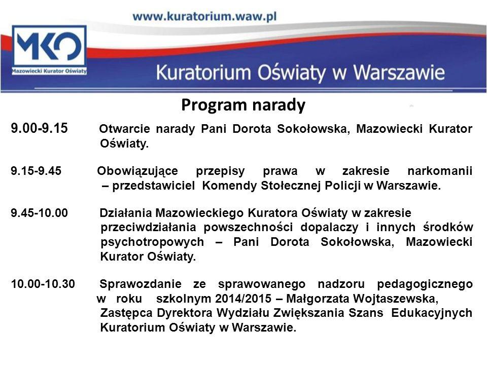 Program narady 9.00-9.15 Otwarcie narady Pani Dorota Sokołowska, Mazowiecki Kurator Oświaty. 9.15-9.45 Obowiązujące przepisy prawa w zakresie narkoman