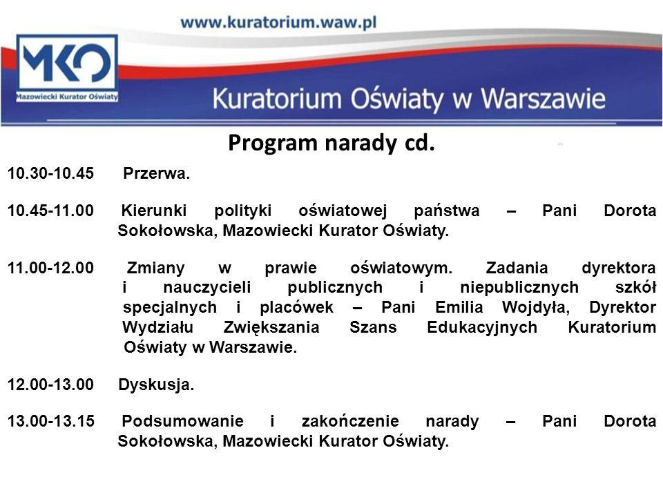 Program narady cd.10.30-10.45 Przerwa.