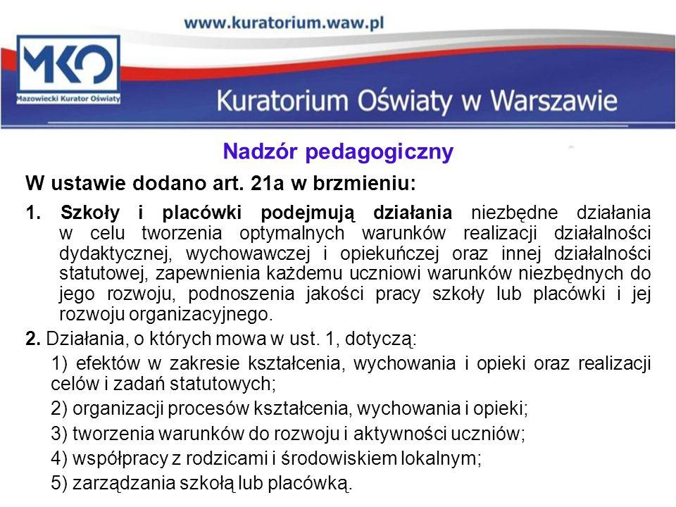 Nadzór pedagogiczny W ustawie dodano art.21a w brzmieniu: 1.