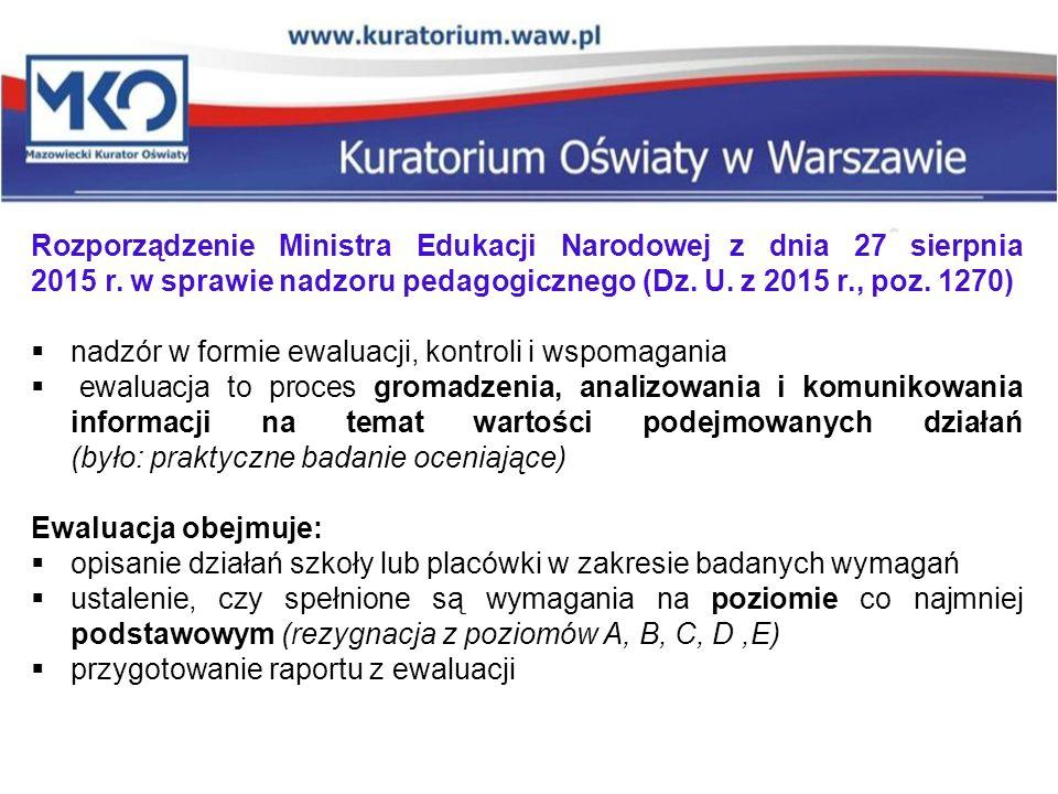 Rozporządzenie Ministra Edukacji Narodowej z dnia 27 sierpnia 2015 r. w sprawie nadzoru pedagogicznego (Dz. U. z 2015 r., poz. 1270)  nadzór w formie