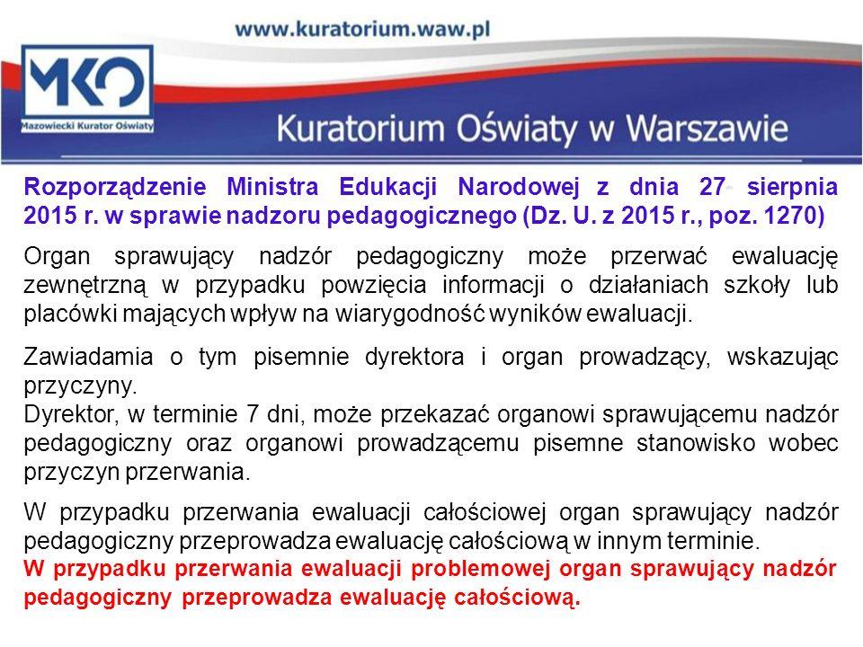 Rozporządzenie Ministra Edukacji Narodowej z dnia 27 sierpnia 2015 r. w sprawie nadzoru pedagogicznego (Dz. U. z 2015 r., poz. 1270) Organ sprawujący