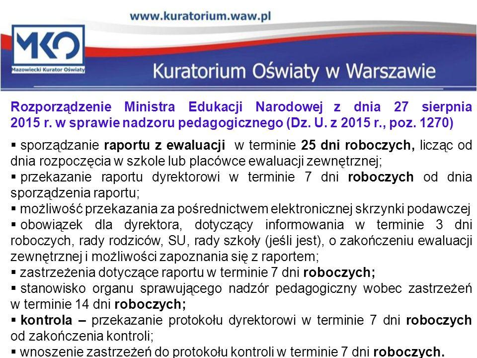 Rozporządzenie Ministra Edukacji Narodowej z dnia 27 sierpnia 2015 r. w sprawie nadzoru pedagogicznego (Dz. U. z 2015 r., poz. 1270)  sporządzanie ra