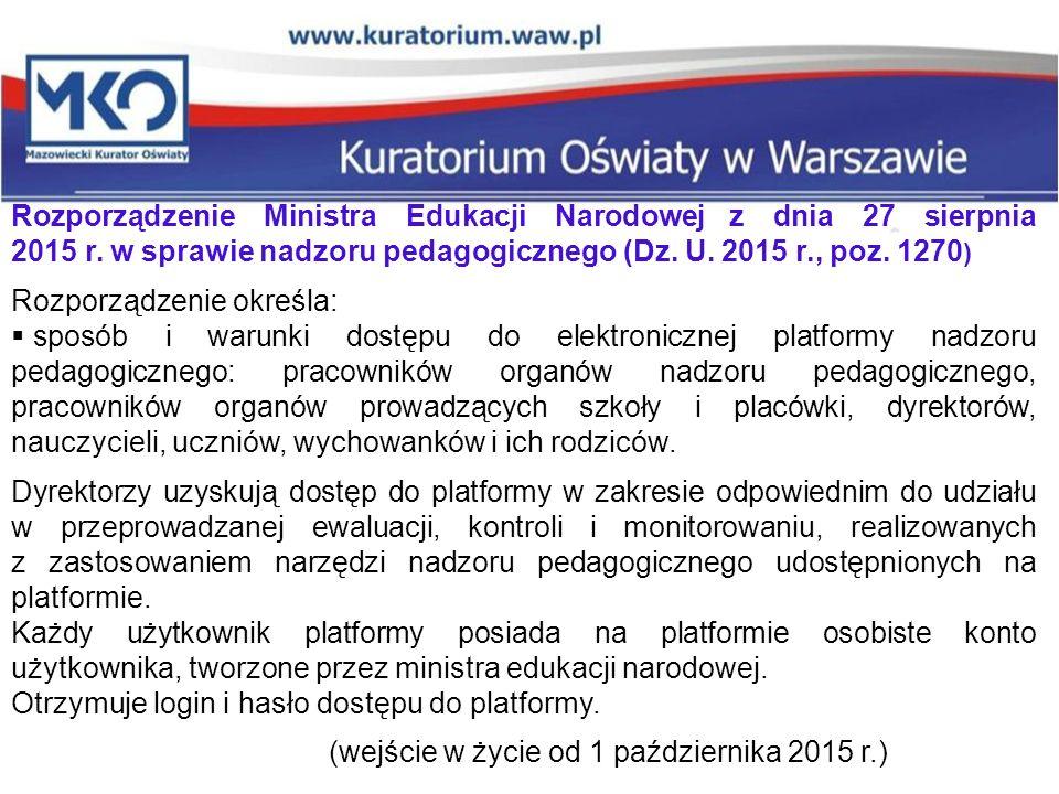 Rozporządzenie Ministra Edukacji Narodowej z dnia 27 sierpnia 2015 r. w sprawie nadzoru pedagogicznego (Dz. U. 2015 r., poz. 1270 ) Rozporządzenie okr