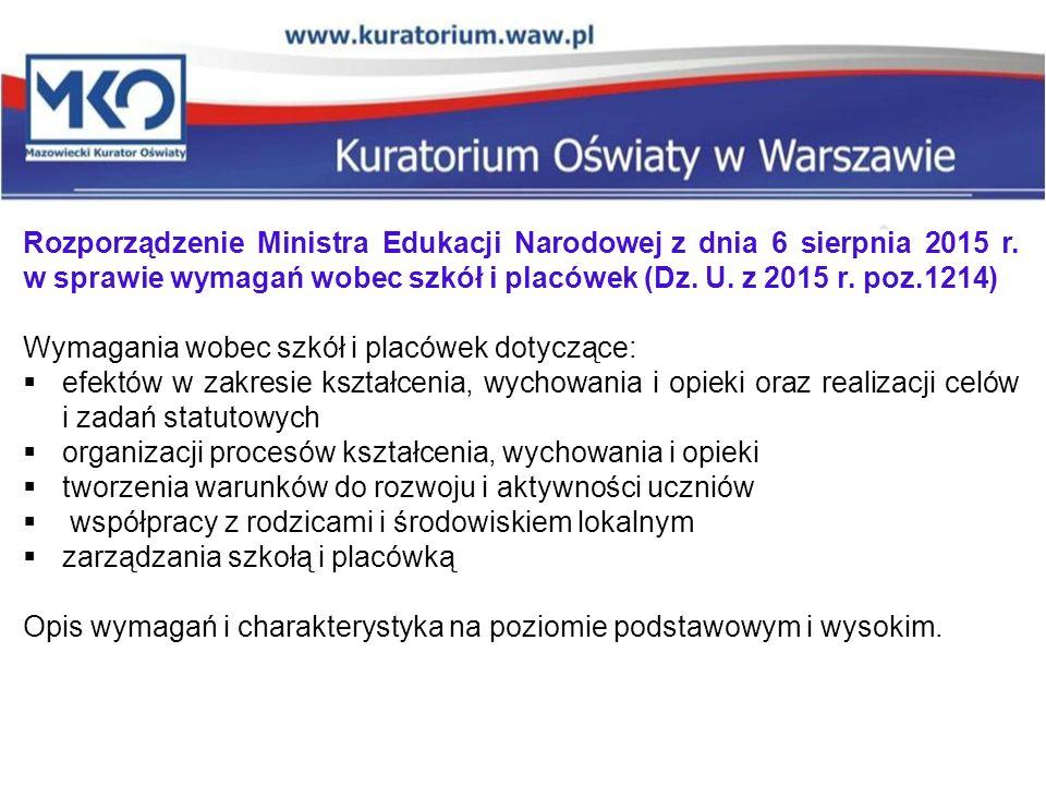 Rozporządzenie Ministra Edukacji Narodowej z dnia 6 sierpnia 2015 r. w sprawie wymagań wobec szkół i placówek (Dz. U. z 2015 r. poz.1214) Wymagania wo