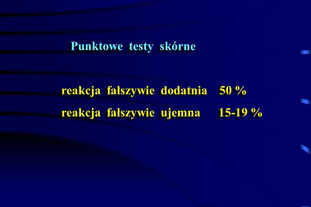 Punktowe testy skórne reakcja fałszywie dodatnia 50 % reakcja fałszywie ujemna 15-19 % Punktowe testy skórne reakcja fałszywie dodatnia 50 % reakcja f