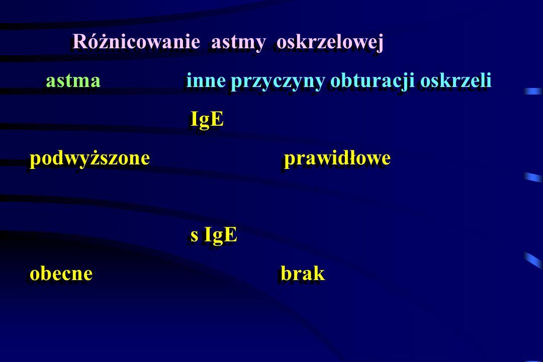 Różnicowanie astmy oskrzelowej astma inne przyczyny obturacji oskrzeli IgE podwyższone prawidłowe s IgE obecne brak Różnicowanie astmy oskrzelowej ast
