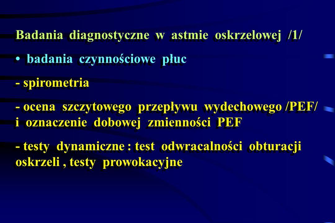 Badania diagnostyczne w astmie oskrzelowej /1/ badania czynnościowe płuc - spirometria - ocena szczytowego przepływu wydechowego /PEF/ i oznaczenie do