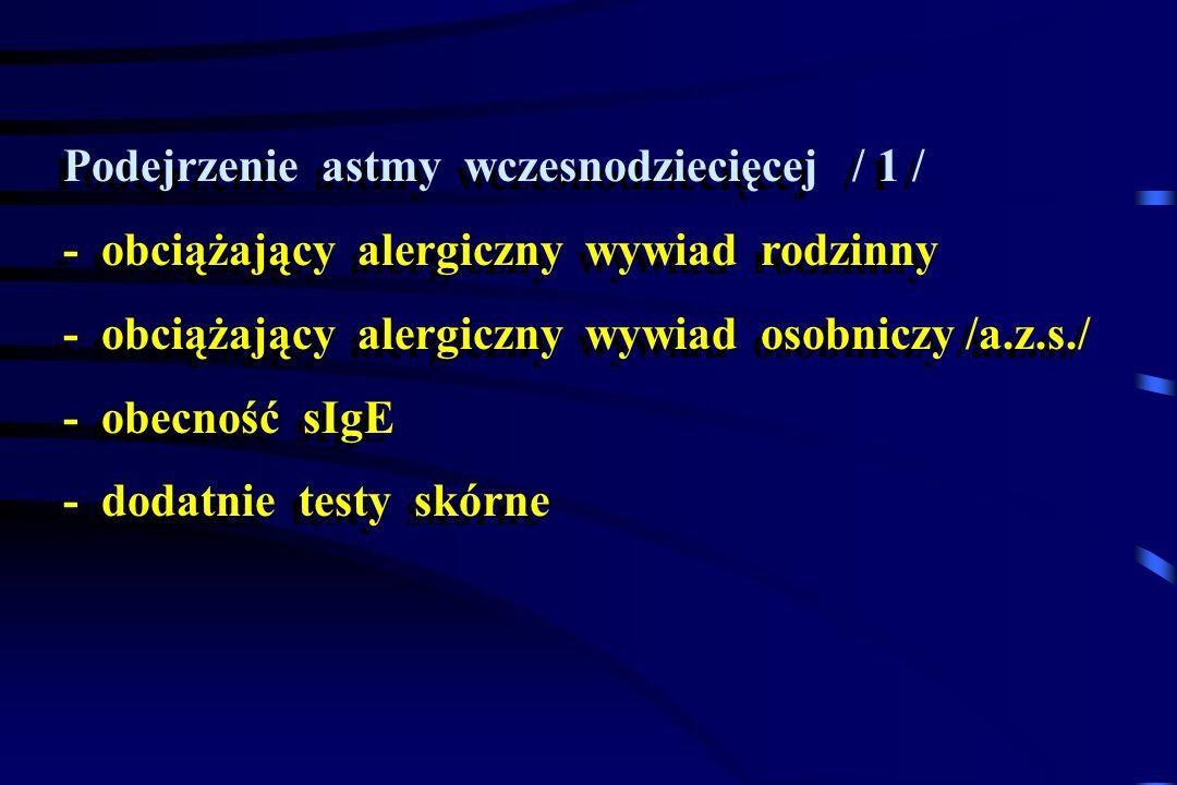 Podejrzenie astmy wczesnodziecięcej / 1 / - obciążający alergiczny wywiad rodzinny - obciążający alergiczny wywiad osobniczy /a.z.s./ - obecność sIgE