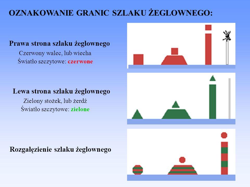 OZNAKOWANIE GRANIC SZLAKU ŻEGLOWNEGO: Prawa strona szlaku żeglownego Lewa strona szlaku żeglownego Rozgałęzienie szlaku żeglownego Czerwony walec, lub wiecha Światło szczytowe: czerwone Zielony stożek, lub żerdź Światło szczytowe: zielone