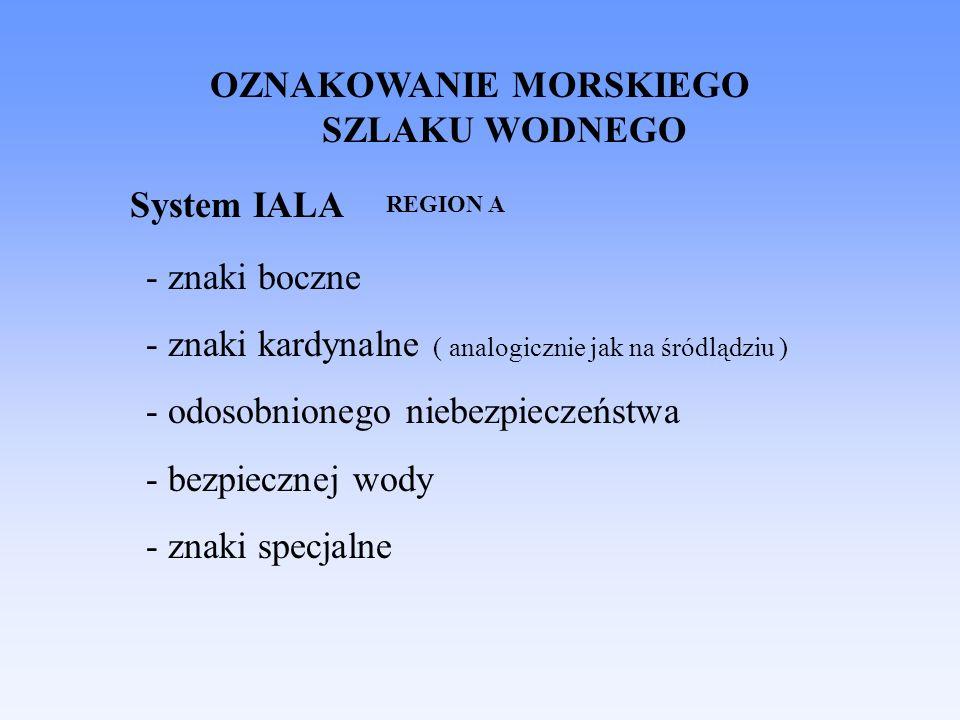 System IALA - znaki boczne - znaki kardynalne ( analogicznie jak na śródlądziu ) - odosobnionego niebezpieczeństwa - bezpiecznej wody - znaki specjalne OZNAKOWANIE MORSKIEGO SZLAKU WODNEGO REGION A