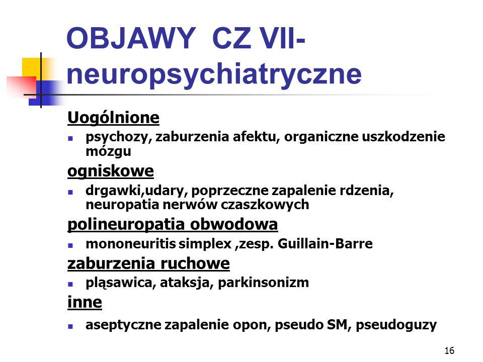 16 OBJAWY CZ VII- neuropsychiatryczne Uogólnione psychozy, zaburzenia afektu, organiczne uszkodzenie mózgu ogniskowe drgawki,udary, poprzeczne zapalen
