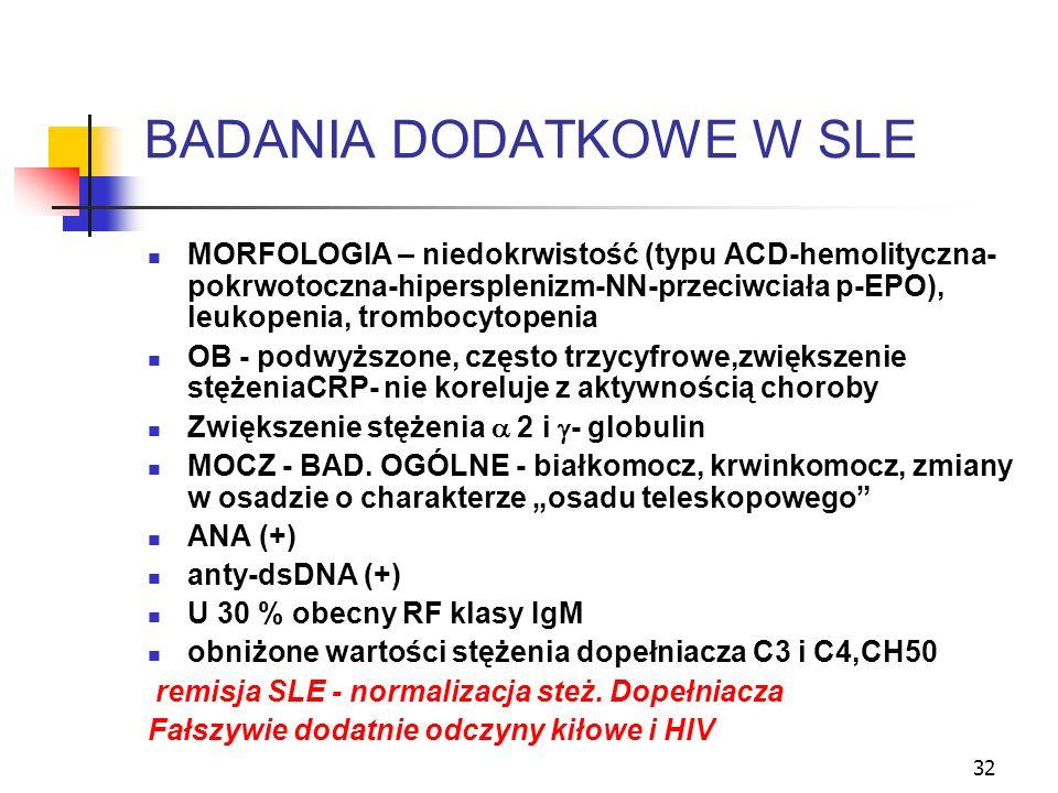 32 BADANIA DODATKOWE W SLE MORFOLOGIA – niedokrwistość (typu ACD-hemolityczna- pokrwotoczna-hipersplenizm-NN-przeciwciała p-EPO), leukopenia, trombocy