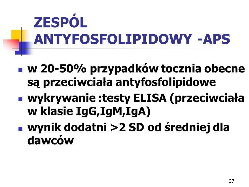 37 ZESPÓL ANTYFOSFOLIPIDOWY -APS w 20-50% przypadków tocznia obecne są przeciwciała antyfosfolipidowe wykrywanie :testy ELISA (przeciwciała w klasie I