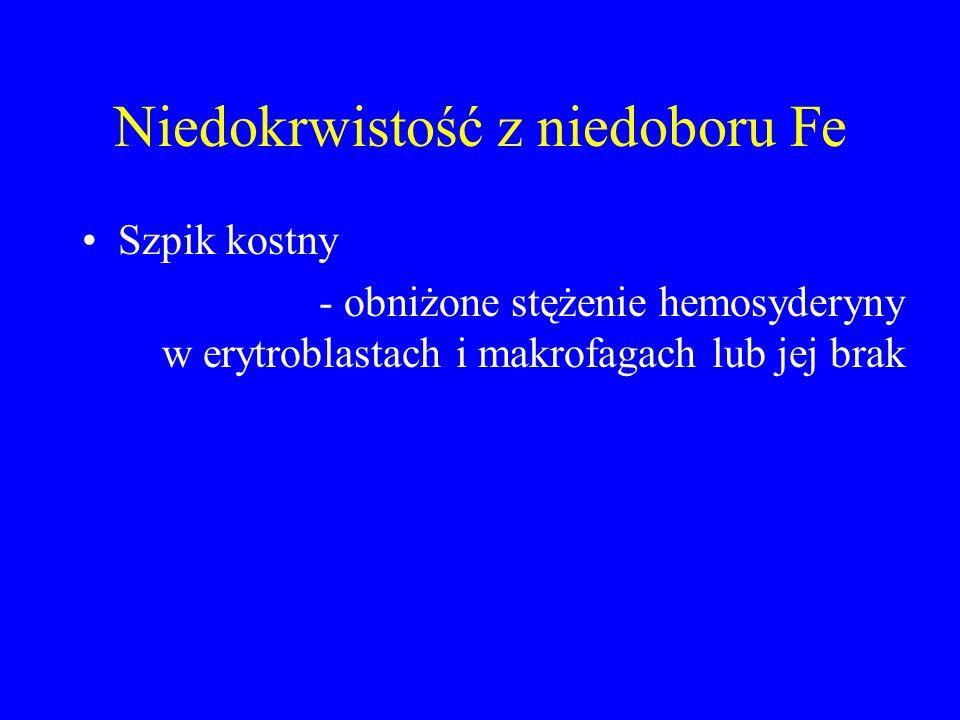 Niedokrwistość z niedoboru Fe Szpik kostny - obniżone stężenie hemosyderyny w erytroblastach i makrofagach lub jej brak