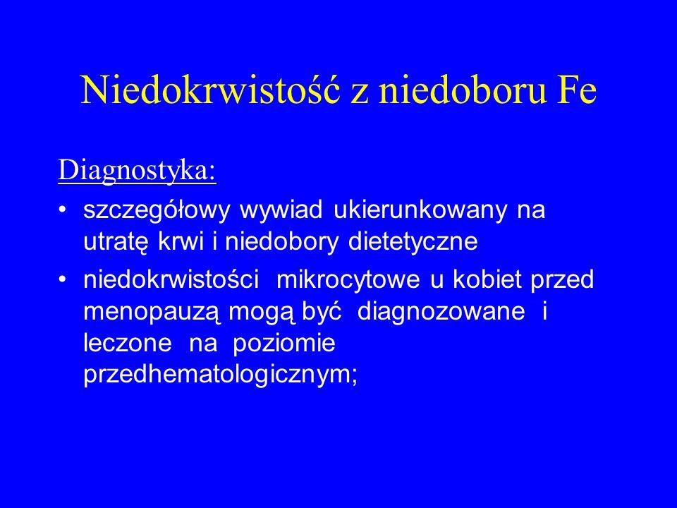 Niedokrwistość z niedoboru Fe Diagnostyka: szczegółowy wywiad ukierunkowany na utratę krwi i niedobory dietetyczne niedokrwistości mikrocytowe u kobie