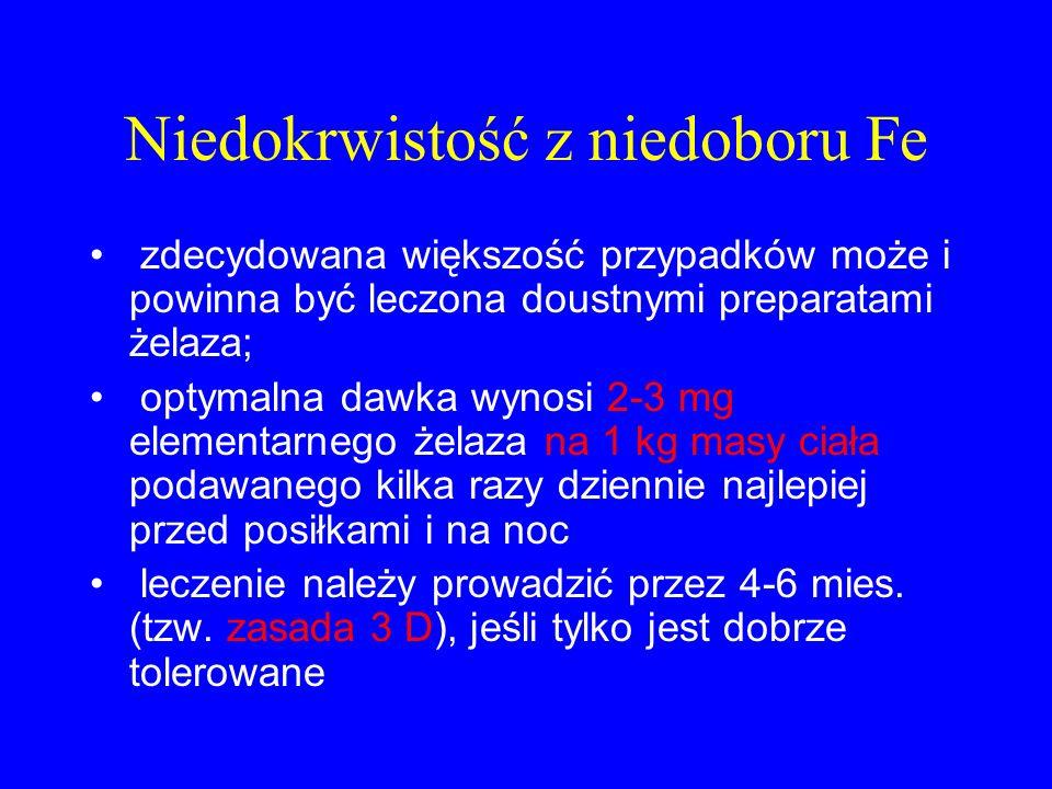 Niedokrwistość z niedoboru Fe zdecydowana większość przypadków może i powinna być leczona doustnymi preparatami żelaza; optymalna dawka wynosi 2-3 mg