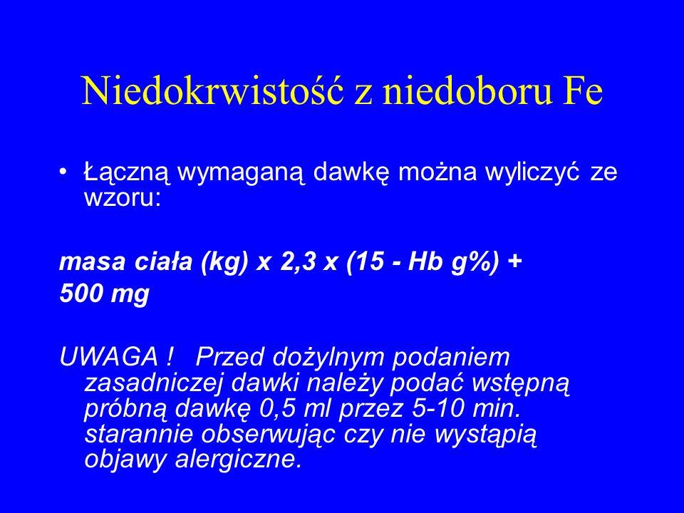 Niedokrwistość z niedoboru Fe Łączną wymaganą dawkę można wyliczyć ze wzoru: masa ciała (kg) x 2,3 x (15 - Hb g%) + 500 mg UWAGA ! Przed dożylnym poda