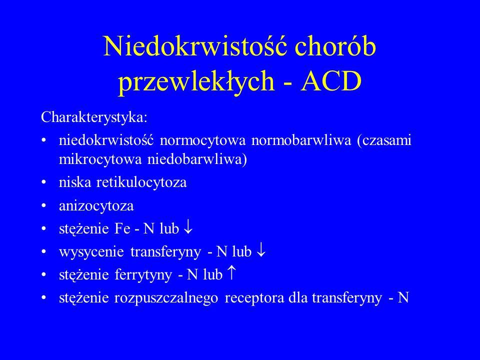 Niedokrwistość chorób przewlekłych - ACD Charakterystyka: niedokrwistość normocytowa normobarwliwa (czasami mikrocytowa niedobarwliwa) niska retikulocytoza anizocytoza stężenie Fe - N lub  wysycenie transferyny - N lub  stężenie ferrytyny - N lub  stężenie rozpuszczalnego receptora dla transferyny - N