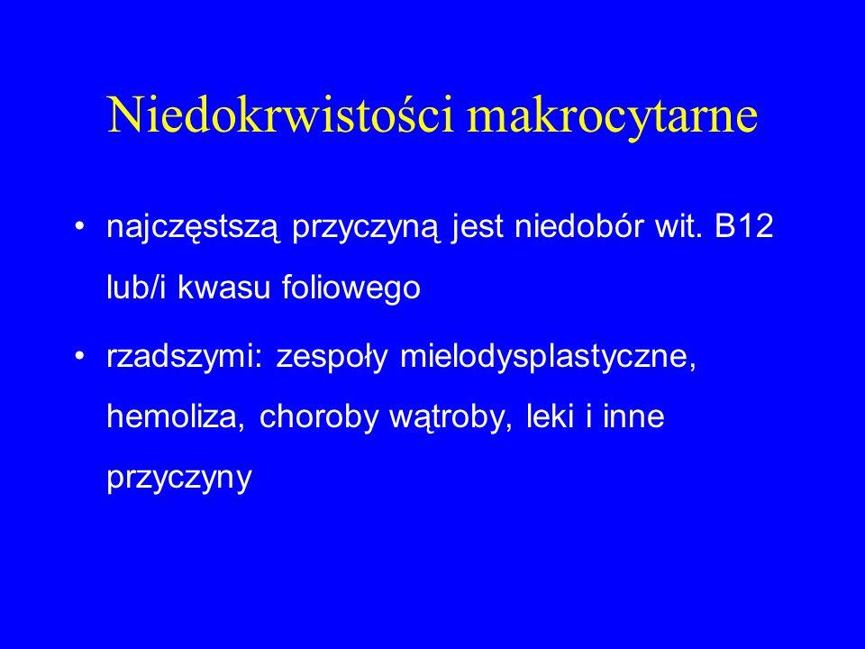 Niedokrwistości makrocytarne najczęstszą przyczyną jest niedobór wit. B12 lub/i kwasu foliowego rzadszymi: zespoły mielodysplastyczne, hemoliza, choro