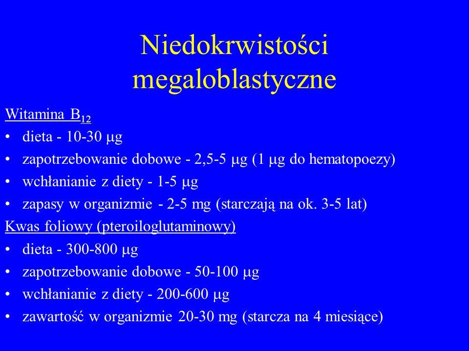 Niedokrwistości megaloblastyczne Witamina B 12 dieta - 10-30  g zapotrzebowanie dobowe - 2,5-5  g (1  g do hematopoezy) wchłanianie z diety - 1-5  g zapasy w organizmie - 2-5 mg (starczają na ok.