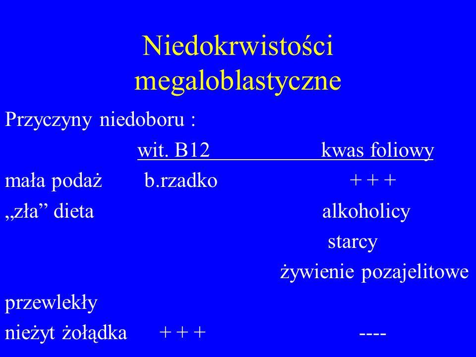 """Niedokrwistości megaloblastyczne Przyczyny niedoboru : wit. B12 kwas foliowy mała podaż b.rzadko + + + """"zła"""" dieta alkoholicy starcy żywienie pozajeli"""