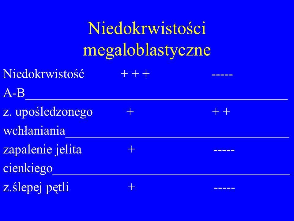 Niedokrwistości megaloblastyczne Niedokrwistość + + + ----- A-B________________________________________ z. upośledzonego + + + wchłaniania____________
