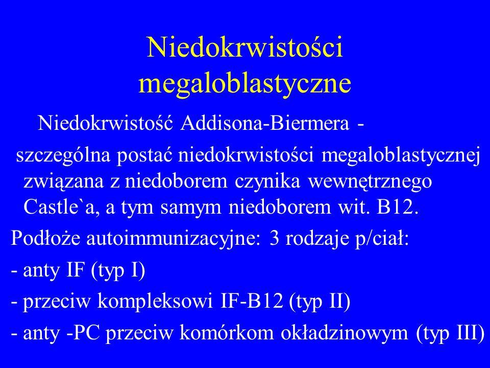Niedokrwistości megaloblastyczne Niedokrwistość Addisona-Biermera - szczególna postać niedokrwistości megaloblastycznej związana z niedoborem czynika wewnętrznego Castle`a, a tym samym niedoborem wit.
