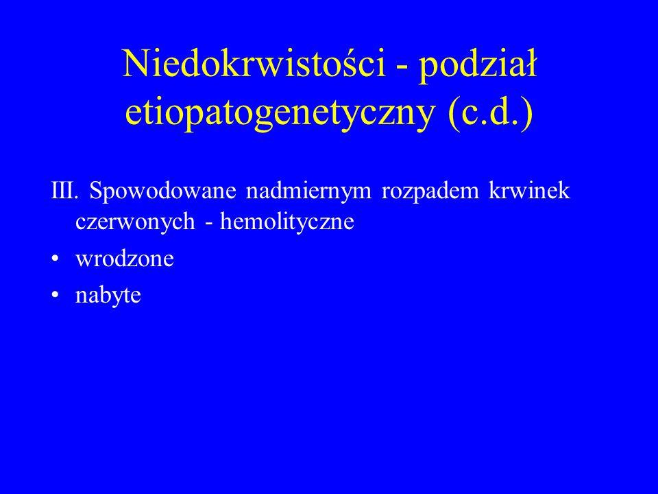 Niedokrwistości - podział etiopatogenetyczny (c.d.) III. Spowodowane nadmiernym rozpadem krwinek czerwonych - hemolityczne wrodzone nabyte