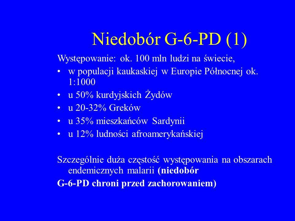 Niedobór G-6-PD (1) Występowanie: ok. 100 mln ludzi na świecie, w populacji kaukaskiej w Europie Północnej ok. 1:1000 u 50% kurdyjskich Żydów u 20-32%