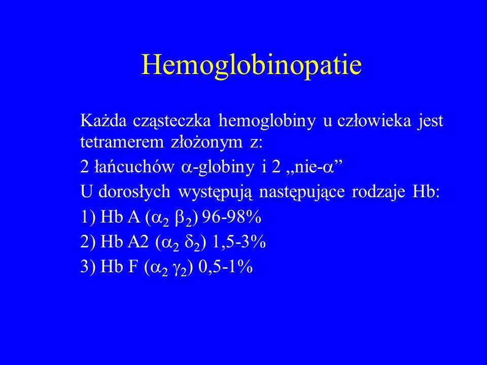 """Hemoglobinopatie Każda cząsteczka hemoglobiny u człowieka jest tetramerem złożonym z: 2 łańcuchów  -globiny i 2 """"nie-  U dorosłych występują następujące rodzaje Hb: 1) Hb A (  2  2 ) 96-98% 2) Hb A2 (  2  2 ) 1,5-3% 3) Hb F (  2  2 ) 0,5-1%"""
