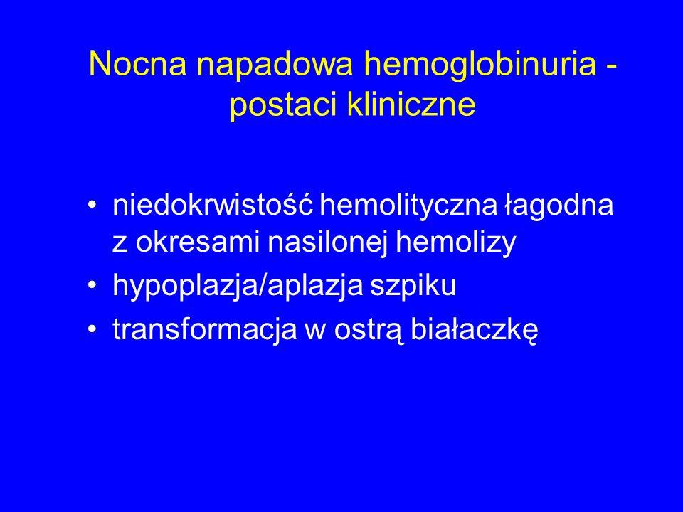 Nocna napadowa hemoglobinuria - postaci kliniczne niedokrwistość hemolityczna łagodna z okresami nasilonej hemolizy hypoplazja/aplazja szpiku transformacja w ostrą białaczkę
