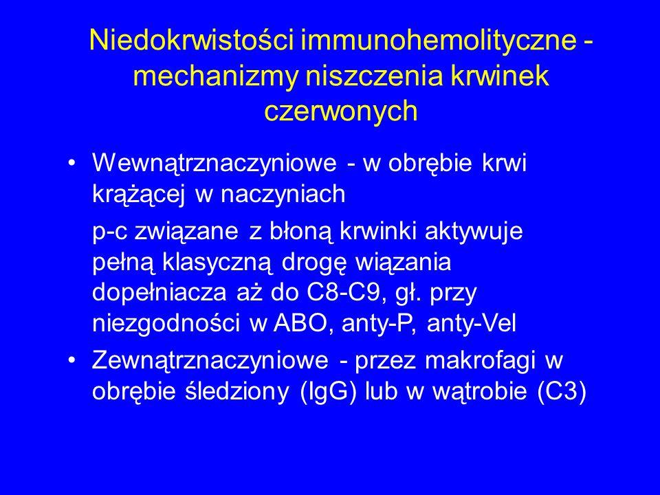Niedokrwistości immunohemolityczne - mechanizmy niszczenia krwinek czerwonych Wewnątrznaczyniowe - w obrębie krwi krążącej w naczyniach p-c związane z błoną krwinki aktywuje pełną klasyczną drogę wiązania dopełniacza aż do C8-C9, gł.