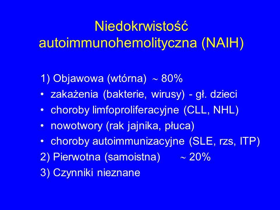 Niedokrwistość autoimmunohemolityczna (NAIH) 1) Objawowa (wtórna)  80% zakażenia (bakterie, wirusy) - gł. dzieci choroby limfoproliferacyjne (CLL, NH