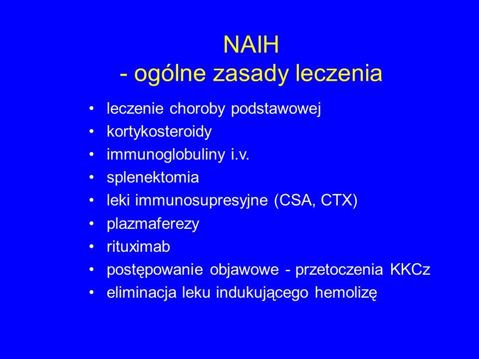 NAIH - ogólne zasady leczenia leczenie choroby podstawowej kortykosteroidy immunoglobuliny i.v. splenektomia leki immunosupresyjne (CSA, CTX) plazmafe