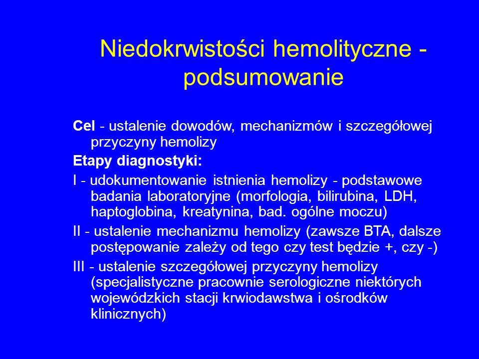 Niedokrwistości hemolityczne - podsumowanie Cel - ustalenie dowodów, mechanizmów i szczegółowej przyczyny hemolizy Etapy diagnostyki: I - udokumentowanie istnienia hemolizy - podstawowe badania laboratoryjne (morfologia, bilirubina, LDH, haptoglobina, kreatynina, bad.