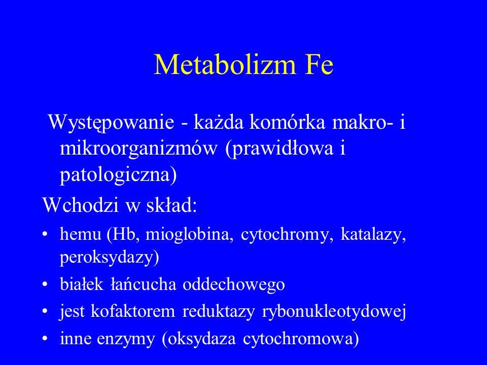 Metabolizm Fe Występowanie - każda komórka makro- i mikroorganizmów (prawidłowa i patologiczna) Wchodzi w skład: hemu (Hb, mioglobina, cytochromy, katalazy, peroksydazy) białek łańcucha oddechowego jest kofaktorem reduktazy rybonukleotydowej inne enzymy (oksydaza cytochromowa)