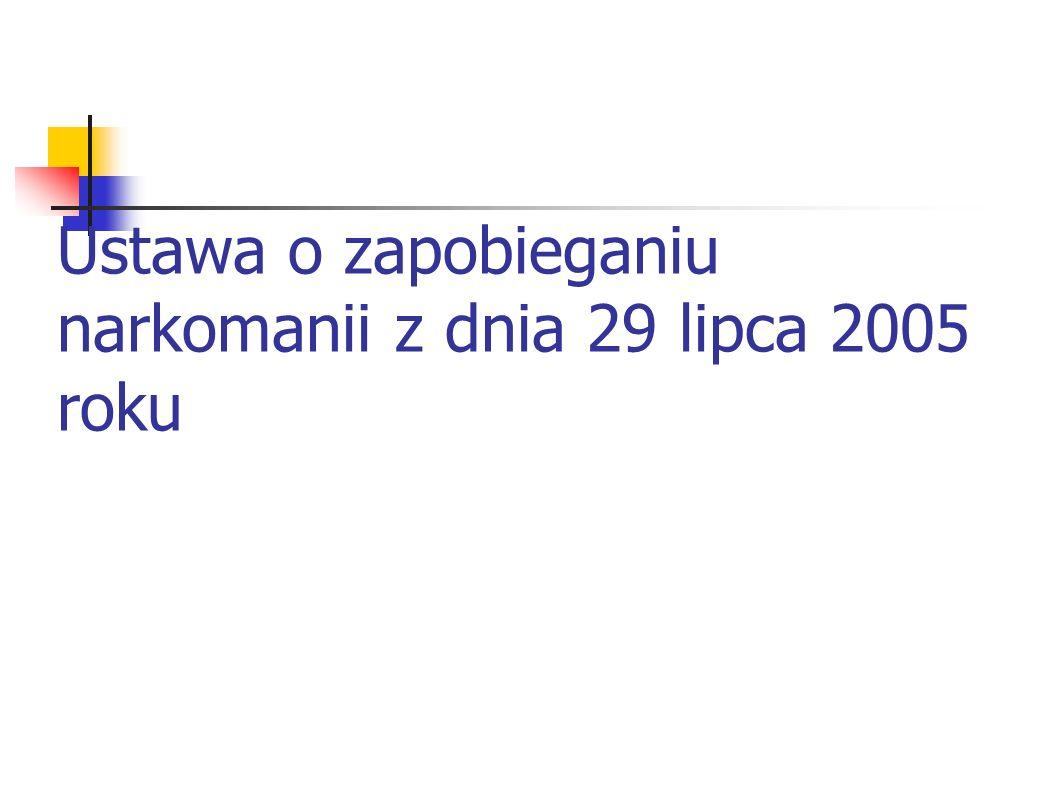 Ustawa o zapobieganiu narkomanii z dnia 29 lipca 2005 roku