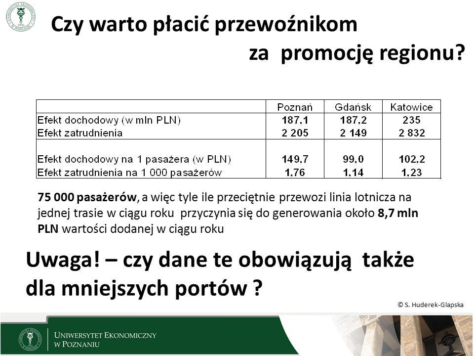 © S. Huderek-Glapska Czy warto płacić przewoźnikom za promocję regionu? 75 000 pasażerów, a więc tyle ile przeciętnie przewozi linia lotnicza na jedne