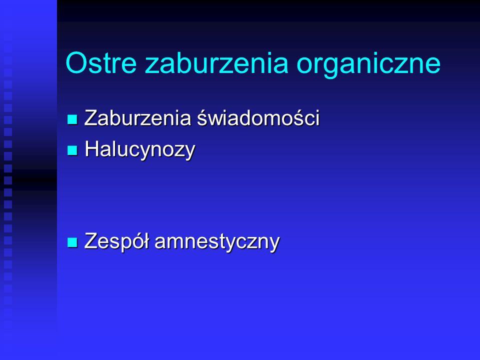 Ostre zaburzenia organiczne Zaburzenia świadomości Zaburzenia świadomości Halucynozy Halucynozy Zespół amnestyczny Zespół amnestyczny